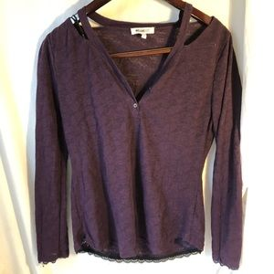 William Rast Sz L purple lace shirt EUC